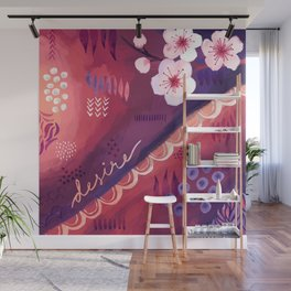 Desire / Red and Purple Abstract Art with Cherry Blossom Wall Mural