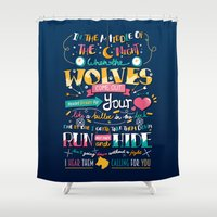 wolves Shower Curtains featuring Wolves by Art of Nanas