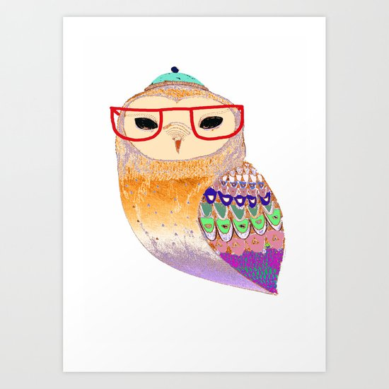 Pretty Awesome owl Art Print