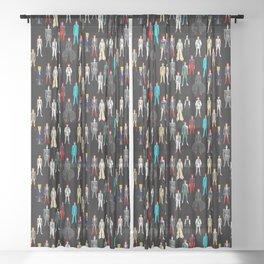 Heroes Scattered Pattern Black Sheer Curtain