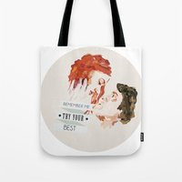 eternal sunshine Tote Bags featuring Eternal Sunshine of the Spotless Mind by rebeccalbe