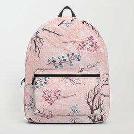 Watercolor coral brown blue pink floral marble Backpack