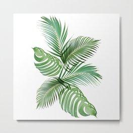Tropical Palm Fern Monstera Leaves Exotic Botanical Plant Boho Collage Metal Print