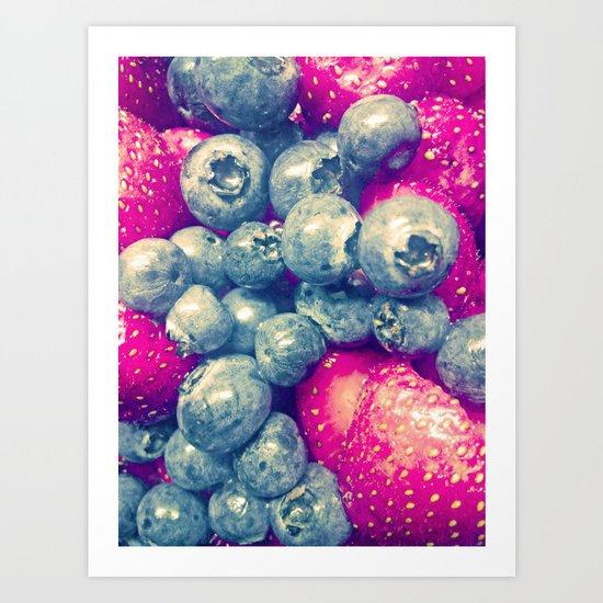 Strawberry & Blueberry Love Art Print