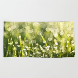 Beautiful Morning Dew On A Green Grass #decor #society6 #buyart Beach Towel