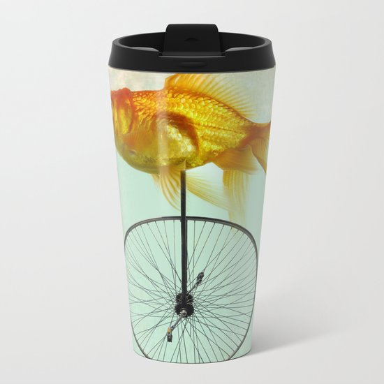 unicycle goldfish Metal Travel Mug