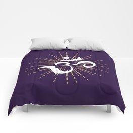Om Mantra Universal Energy Purple Comforters