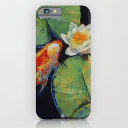 Koi and White Lily iPhone Case