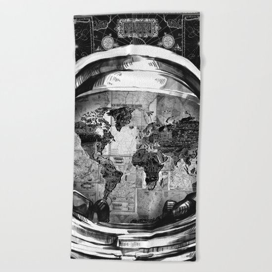 astronaut world map black and white 2 Beach Towel