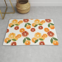 sliced oranges spring watercolor Rug