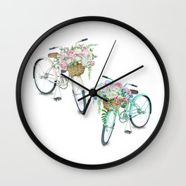 Two Vintage Bicycles With Flower Baskets Wall Clock