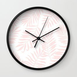 Tropical Palm Leaves - Pink Wall Clock