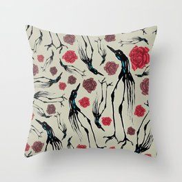 Weird Long Leg Birds With Stylized Roses Throw Pillow