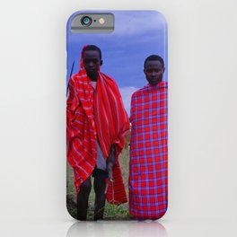 Two Teens in Africa Tending to Village Cattle iPhone Case