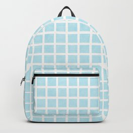 Light teal hand drawn squares pattern Backpack