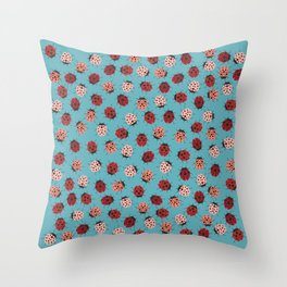 All over Modern Ladybug on Blue Background Throw Pillow