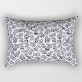 Modern purple black lavender cactus floral pattern Rectangular Pillow