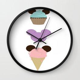 Mickey Mouse Cupcake, Macaroon and Ice Cream Cone Wall Clock
