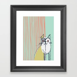 Cubist Cat Study #5 by Friztin Framed Art Print