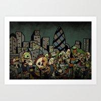 zombies Art Prints featuring Zombies in London by Matt Jeffs