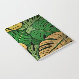 Grunge Monstera Leaves Notebook