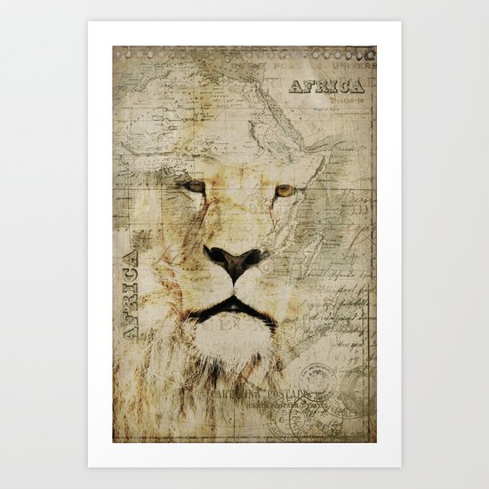Lion Vintage Africa old Map illustration Art Print