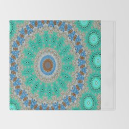 Lovely Healing Mandalas in Brilliant Colors: Blue, Brown, Teal, Silver and Gold Throw Blanket