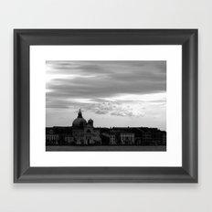 Giudecca at sundown in black and white Framed Art Print