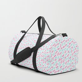 Pink Blue Watercolor Leaf on White. Gentle Floral Doodles Pattern Duffle Bag