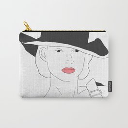 Women in Overalls Black and White Portrait Illustration Carry-All Pouch