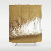 gold foil Shower Curtains featuring Gold Foil by The Wellington Boot