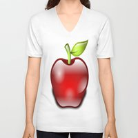 apple V-neck T-shirts featuring APPLE by Acus