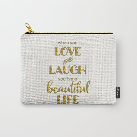 When you - Gold glitter typography on white backround Carry-All Pouch