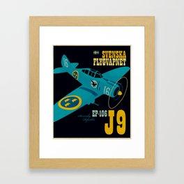 Swedish EP-106 airplane poster ShreddyStudio Dennis Weber Framed Art Print
