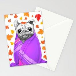 Autumn Pug Stationery Cards