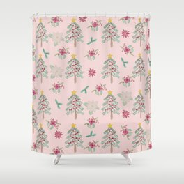 Christmas Pattern Pink Shower Curtain