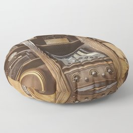 Old radios in a wooden cabinet Floor Pillow