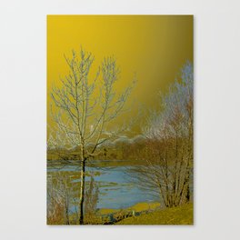 Frozen Lake and Golden Sky Canvas Print