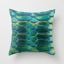 Aqua Scales Throw Pillow