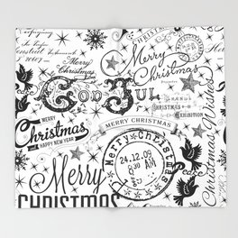 Black and White Christmas Typography Design Throw Blanket