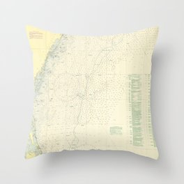 Vintage Cape May to Cape Hatteras Shipwrecks Map Throw Pillow