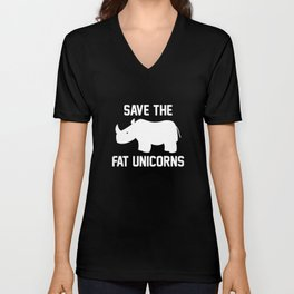 Save The Fat Unicorns Unisex V-Neck