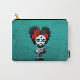 Day of the Dead Girl Playing Nicaraguan Flag Guitar Carry-All Pouch