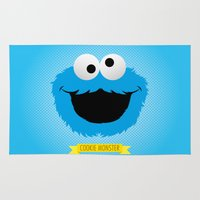 cookie monster Area & Throw Rugs featuring C FOR COOKIE MONSTER by Emils Blums
