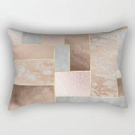 Copper and Blush Rose Gold Marble Quadrangle Geometrical Shapes Rectangular Pillow