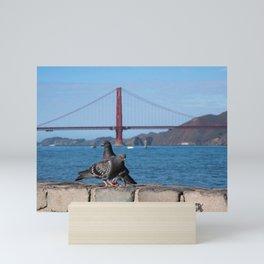 Golden Gate Bridge San Francisco Photography, Pigeons in the City, California Wall Art Mini Art Print