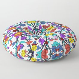 purple birds in roses Floor Pillow