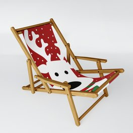Reindeer in a snowy day (red) Sling Chair