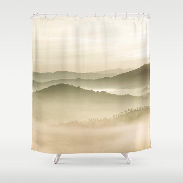 Pastel Blue Green Sepia Sunset Mountains layered parallax Landscape Minimalist Landscape Shower Curtain