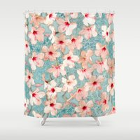 peach Shower Curtains featuring Shabby Chic Hibiscus Patchwork Pattern in Peach & Mint by micklyn